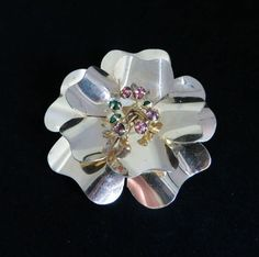 Vintage Sterling Silver Flower Brooch, Multi Color Topaz Large Floral Pin, Christmas Gift