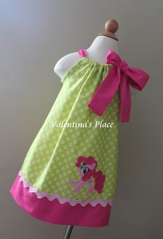 Adorable My little pony Pinkie Pie inspired pillowcase dress or halter style on Etsy, $32.00