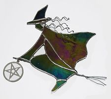 Halloween Witch, fun suncatcher, handmade in UK from stained glass