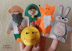 Развивающие игрушки ручной работы. Ярмарка Мастеров - ручная работа. Купить Колобок - пальчиковый театр. Handmade. Разноцветный, подарок для ребенка
