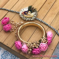 Classy Pink Rose Designer Dangler Bangle With Gota Touch Morpankh Rakhi Silk Thread Bangles Design, Silk Bangles, Thread Jewellery, Fabric Jewelry, Handmade Rakhi Designs, Diwali Diya, Indian Jewelry Sets, Jewelry Design Earrings, Jewelry Patterns