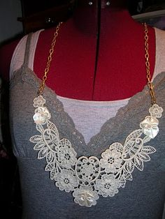 Necklace made from vintage lace applique