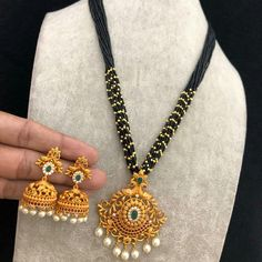 Temple jewellery available at AnkhJewels Booking msg on Pearl Necklace Designs, Gold Earrings Designs, Gold Jewellery Design, Gold Necklace, Gold Designs, Pendant Jewelry, Beaded Jewelry, Jewelry Art, Gold Pendant
