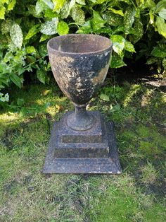 Early 19th Century Cast Iron Black Garden Urn In The Form Of A Goblet. For
