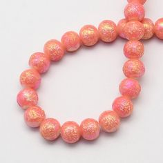 20 Coral Glitter Beads Textured Glass Bead Orange and Pink Round Gorgeous 8mm 3802 by OverstockBeadSupply on Etsy