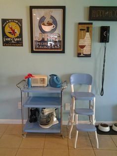 Cosco Vintage De Luxe Tea Cart And Stool. I Primed And Painted Spa Blue