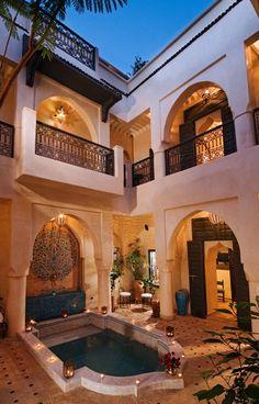 Luxury Mediterranean Style Mansion Interior Open Courtyard Design