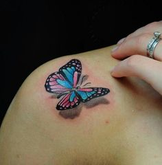 Cute Colorful Butterfly Shoulder Tattoo