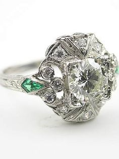 Vintage Diamond Engagement Ring with Emeralds