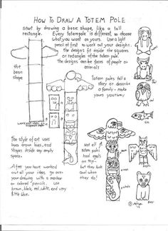 How to Draw Worksheets for Young Artist: How To Draw A Totem Pole Worksheet Totem Pole Drawing, Totem Pole Art, Arte Haida, Native American Totem, Native American Projects, American Indians, Art Handouts, Art Worksheets, The Lone Ranger