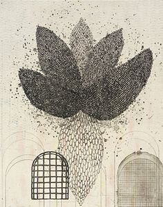 Akiko Taniguchi. Etching, drypoint, collograph, chine colle Hidden Wings, 2009.