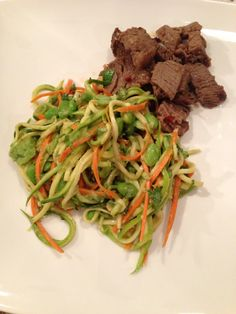 zucchini noodle salad with beef