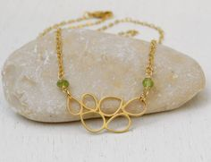 Gold peridot necklace Drop pendant necklace by SarittDesigns