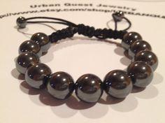 10mm Hematite Shambala Bracelet by URBANQUEST on Etsy, $18.00