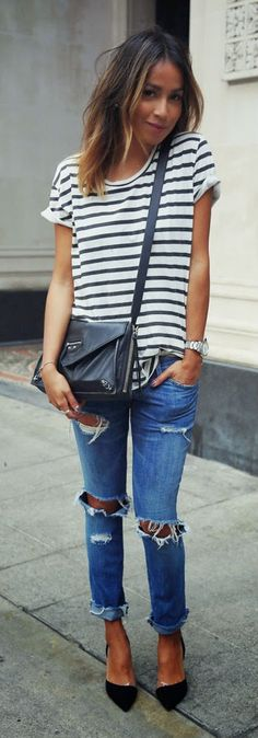 ANINE BING striped tee, CURRENT/ELLIOT ripped jeans, BLACK pumps / Sincerely Jules