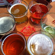 Redhook Ale Brewery, Portsmouth, New Hampshire — by Corey Snyder. Sampler at the pub house!!!