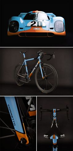 Baum Gulf Oil Corretto - I love this color scheme. Perhaps, on a carbon bike, the dark blue pinstriping could be blue-tinted carbon peek-throughs? hmm...