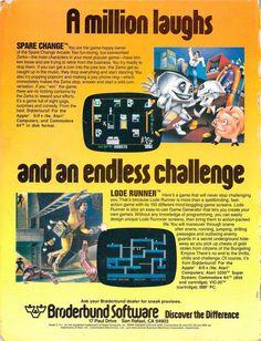 Spare Change (Apple II, Atari 8-bit, Commodore 64)  Lode Runner (Apple II, Atari 5200, Commodore 64, VIC-20, DOS)  http://www.megalextoria.com/wordpress/index.php/category/computer-arcana/  http://www.megalextoria.com/forum2