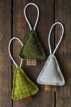 Articles similar to Woodland Tree Ornaments - Primitive Christmas Holidays - Evergreen Woodland . - Items similar to Woodland Tree Ornaments – Primitive Christmas Holidays – Evergreen Woodland Pi - Clay Christmas Decorations, Diy Christmas Ornaments, Felt Ornaments, Felt Christmas, Homemade Christmas, Christmas Projects, Winter Christmas, Holiday Crafts, Christmas Holidays