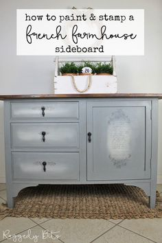 Sharing how I transformed this old sideboard that was missing it's top using Fusion Mineral Paint - Sacred Sage and IOD Decor Stamps | How To Paint A French Farmhouse Sideboard Using The Blending Technique | www.raggedy-bits.com | #raggedybits #french #farmhouse #DIY #repurpose #upcycle #fusionmineralpaint #IOD #painted #furniture Paint Furniture, Furniture Makeover, Furniture Ideas, Before After Furniture, French Farmhouse, Country Farmhouse, Happy Paintings, Mineral Paint, Farmhouse Furniture