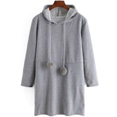 Hooded Drawstring Grey Sweatshirt Dress (5.373 KWD) ❤ liked on Polyvore featuring dresses, grey, long sleeve short dress, gray dress, sleeve shift dress, short dresses and sweatshirt dress