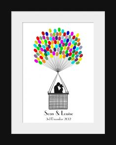 This lovely A3 fingerprint kit is perfect for an Engagement, Wedding or Anniversary celebration.   Featuring the silhouette of a romantic couple soaring away in a hot air balloon of fingerprints. The print comes complete with the strings, your guests add the balloons with their fingerprints.  Each kit can be fully personalised with the happy couples names and special date. Please give your personalisation requirements at checkout or in a conversation.  Please choose your ink colours from the…