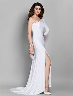 Trumpet/Mermaid One Shoulder Court Train Jersey Evening Dress – USD $ 99.99