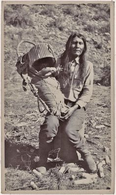 David Ethelbah holding an unidentified baby - White Mountain Apache - 1919༺ ♠ ༻*ŦƶȠ*༺ ♠ ༻