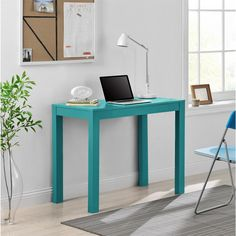 The Altra Parsons Desk features clean, simple lines, making it a great fit in any room, any decor. Finished in rich teal, the Parsons Desk has a convenient center drawer for small office supplies, phone chargers or other items.