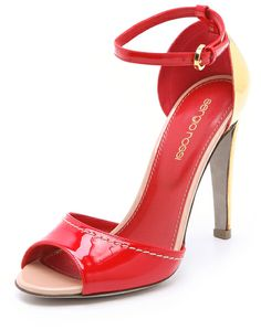 Sergio Rossi Red Leather Sandals with Metal Heel