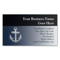 Vintage Nautical Anchor Business Card Templates. I love this design! It is available for customization or ready to buy as is. All you need is to add your business info to this template then place the order. It will ship within 24 hours. Just click the image to make your own!