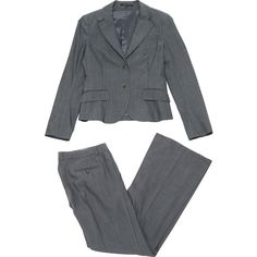 Pre-owned Theory Wool Suit Jacket (840 BRL) ❤ liked on Polyvore featuring grey and women clothing jackets