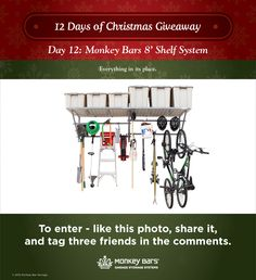 Enter to win household organizing gear Dec 1-22 on Monkey Bar Storage's Facebook page.