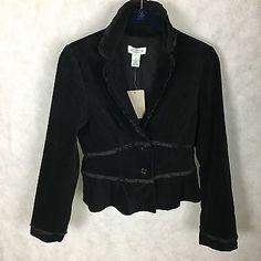 NWT Anthropologie Sitwell Black Cotton Velvet Jacket Blazer Size 4