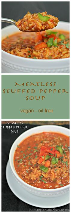 Meatless Stuffed Pepper Soup - a hearty and delicious soup that tastes JUST like the real deal! Impresses even the omnivores! #vegan #oilfree #stuffedpeppersoup #bulgur