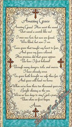 """Amazing Grace Quilting Treasures #1649-24028-E Christian Religious Song Music Cotton Fabric Panel 23 1/2"""" x 44"""""""