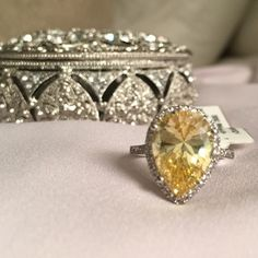 ‼️HP‼️Canary Yellow Pear Cocktail Ring Beyond gorgeous!!! Rhodium plated! Well made cubic zirconia ring. So beautiful in real life! This will demand compliments.  Jewelry Rings