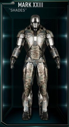 "Mark XXIII – (Iron Man 3) ""Shades"" earns its code-name from its ability to withstand extreme temperatures."