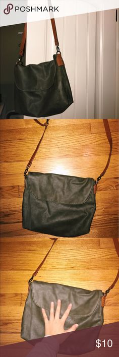 Brown leather bag My hand helps show the size of the bag Urban Outfitters Bags Shoulder Bags