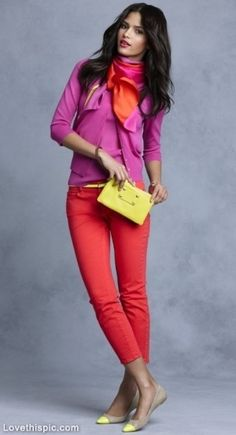 Bright Colored Outfit fashion red purple clutch sweater outfit cropped jeans