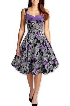 Purple Floral Vintage Dress