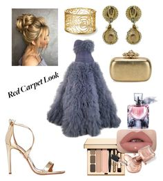 """Untitled #35"" by ckane85 on Polyvore featuring Marchesa, Aquazzura, Alexander McQueen and Lancôme"