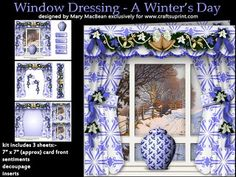 Window Dressing A Winter s Day on Craftsuprint designed by Mary MacBean - Window card with a view of a snowy scene. The kit has 3 sheets which include decoupaged curtains, pelmet and tiebacks, a matching insert and 5 sentiments including a blank one for your own message. There are also 2 smaller insert images that can be used to give a professional looking finish to the inside front and the outside back of the card, or be used as gift cards or tags.  - Now available for download!