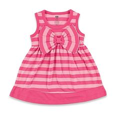 image of BabyVision® Hudson Baby® Sleeveless Big Bow Striped Dress in Pink