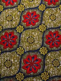 African Print Fabric Wholesale Real Wax Red and Yellow Flower Olive rw211357