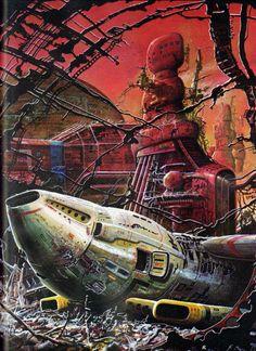 The Warworld of Alshain - less gloomy a Courtland SuperGarage, you should consider one. Sci Fi Kunst, Science Fiction Kunst, 70s Sci Fi Art, Arte Tribal, Classic Sci Fi, Futuristic Art, Sci Fi Books, Sci Fi Fantasy, Space Fantasy
