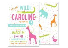 Girl Zoo Birthday Invitation - DIGITAL FILE safari birthday party invite petting animal zoo party giraffe wild animal invitation