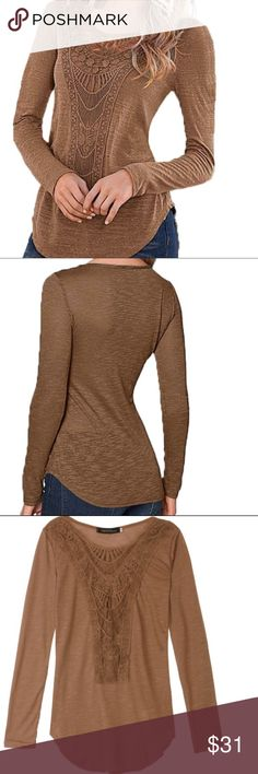 💥New Long Sleeve T-Shirt With Beautiful Detail New Listings my Sleeve T-Shirt with Lace Detailing along neck line and sleeve cuffs.  Beautiful soft chocolate color perfect alone on warmer days and great for layering.  NWT!! Tops Tees - Long Sleeve