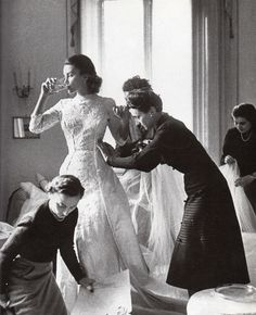 Getting Linda Christian ready for her wedding to Tyrone Power in 1949.