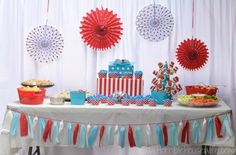 thing 1 and thing 2 decorations for a classroom | Dr Seuss Thing 1 and Thing 2 party ideas- the food table. # ...